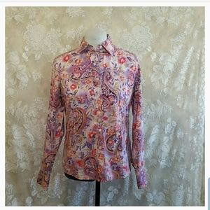 Talbots Floral Button-down Top Size S